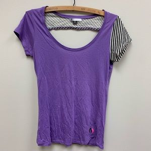 Volcom purple open back striped shirt small